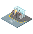 3d isometric of bus stop vector image vector image