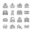 asian property line icon set vector image vector image