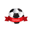 ball and red ribbon soccer game vector image vector image