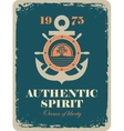 banner with an anchor and a ship steering wheel vector image vector image