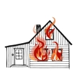 Burning house isolated on white bacground vector image vector image