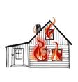 burning house isolated on white background vector image
