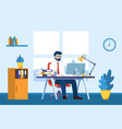 business man working on computer at desk vector image vector image