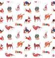 christmas dogs seamless pattern puppies vector image vector image