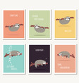 collection of six greeting cards with cute sloth vector image vector image