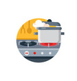 cooking pot on gas stove vector image vector image