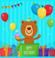 cute bear character inside the box holding cup vector image