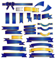 Cute blue ribbons set isolated on white background vector image