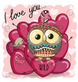 cute cartoon tribal owl with hearts vector image vector image