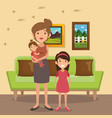 family parents in living room scene vector image