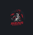 fighter mixed martial arts with bear vector image