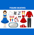 figure skating sport equipment skater clothing vector image vector image
