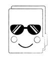 file folder with sunglasses kawaii icon image vector image