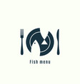 fish menu logo plate with fish on background vector image vector image