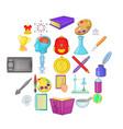 fundamental icons set cartoon style vector image vector image