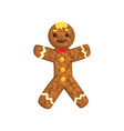 gingerbread man christmas character with funny vector image vector image
