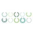 green leaves laurel wreath collection design vector image