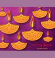 greeting card for diwali festival celebration in vector image