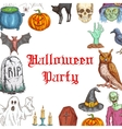Halloween Party invitation card horror elements vector image vector image