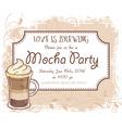 hand drawn mocha party invitation card vintage vector image vector image