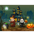 happy halloween witch and grim reaper in front of vector image vector image