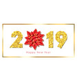 happy new year card 3d gift ribbon bow text gold vector image