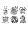 home made bakery culinary logotype icons set vector image vector image