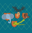 hunter trophy set elephant and bear head moose vector image vector image