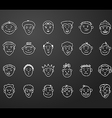 icon set 24 differents mans faces vector image