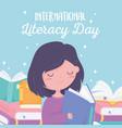 international literacy day girl reading book vector image vector image