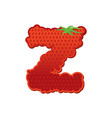 letter z strawberry font red berry lettering vector image vector image