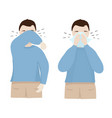 man coughs at elbow and napkin vector image vector image