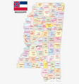 mississippi administrative and political map vector image vector image