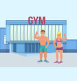 muscular brutal man with athletic girl in a gym a vector image