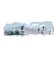 new york city sketch landscape line skyline vector image