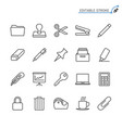 office supplies line icons editable stroke vector image vector image