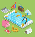 online family budget flat isometric concept vector image vector image