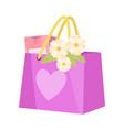 paper shopping bag with flowers and gift present vector image vector image