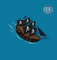 pirate sailer on a blue background vector image vector image