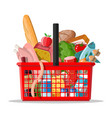 plastic shopping basket with fresh products vector image vector image