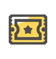 retro cinema ticket icon cartoon vector image