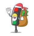 santa with gift traffic light character cartoon vector image vector image