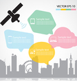 Satellite dish and city background vector image vector image