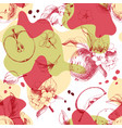 seamless pattern with hand drawn apple fruits and vector image vector image