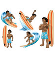 set cartoon hawaiian man surfer vector image