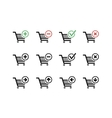 Set of black shopping carts icons with add delete vector image vector image