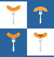 set of sausage and fork flat design icon vector image vector image