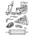 set pizza delivery and ingredients for cooking vector image vector image