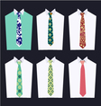 set tie Fashion of different Neckties vector image
