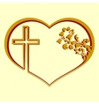 Silhouette of heart with a cross and pattern vector image vector image